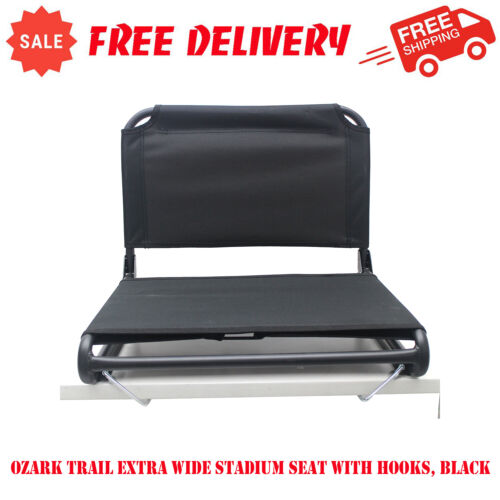 Ozark Trail Extra Wide Stadium Seat with Hooks, Black, Camping Gear, Sports