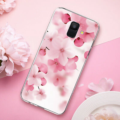 For [Samsung Galaxy A6 2018] Pink Cherry Blossom TPU Case+Black Tempered -
