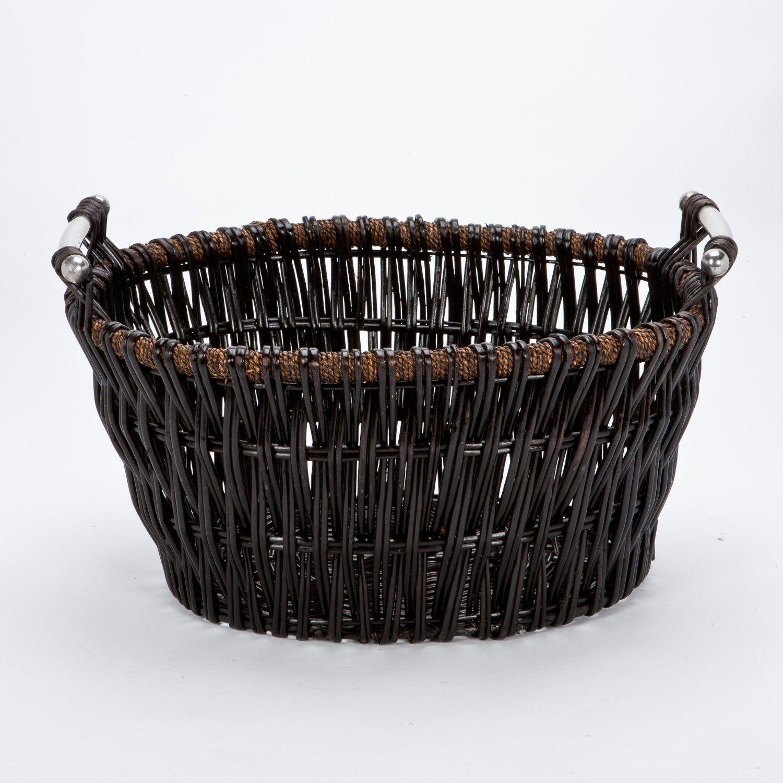 Willow Wicker Storage Basket Hamper Handles Natural Wooden: Fire Basket For Wood Log Holder Firewood Storage Carrier