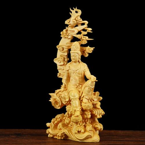 Boxwood Wood Carving Dharma Buddha Statue Handmade Bodhisatva Sculpture Craft