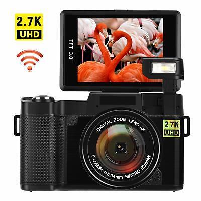 "Digital Camera Vlogging 24MP Ultra HD 2.7K WiFi YouTube Camera 3"" FlipScreen"