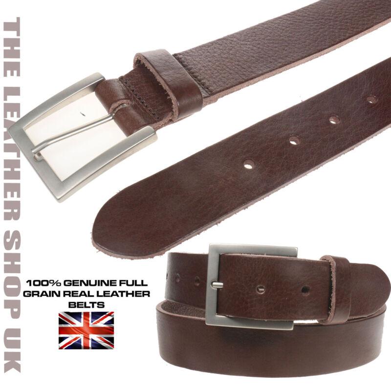 Stylish Mens 35mm Black Soft Full Grain Handmade Real Leather Belt In UK