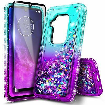 For Motorola Moto One Zoom Case [Liquid Glitter] Bling Cover + Tempered Glass