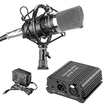 Neewer NW-700 Studio Condenser Microphone Set with 48V Phantom Power Supply Kit