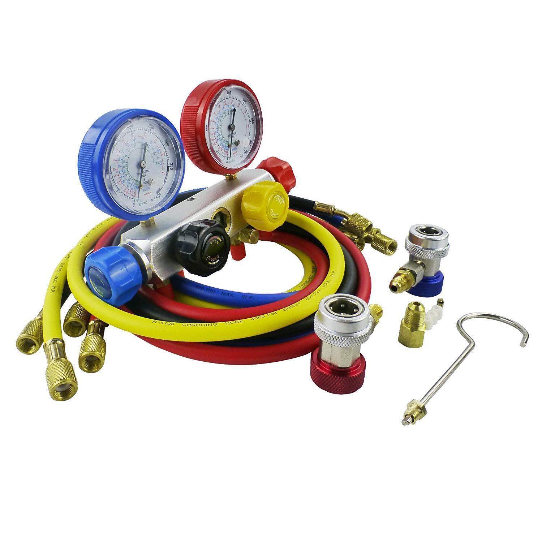 AC Manifold Gauge Set R12 R22 R134A R410A 4 Ways HVAC Diagnostic Tool Kit