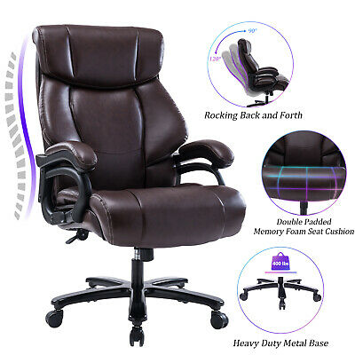 VANBOW High Back Big & Tall 400 lb Leather Office Chair Computer Chair, Brown
