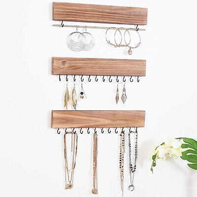 RHF Rustic Jewelry Organizers, Necklace Holder, Wall Mounted Storage, Set of 3