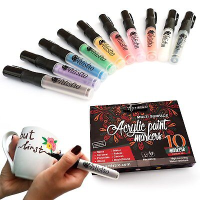 Permanent paint markers. Best marker pens for rocks,ceramic, glass. 10 count