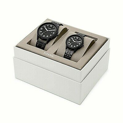 NWT Fossil Couple Watch His & Her BLACK Bracelet WYLIE BQ2471 BQ2471SET $265  Her Couple Watches