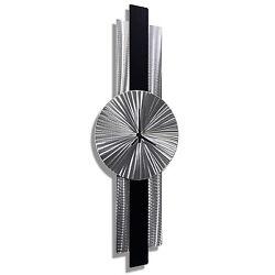 Statements2000 Metal Wall Art Clock Modern Silver Black Accent Decor Jon Allen