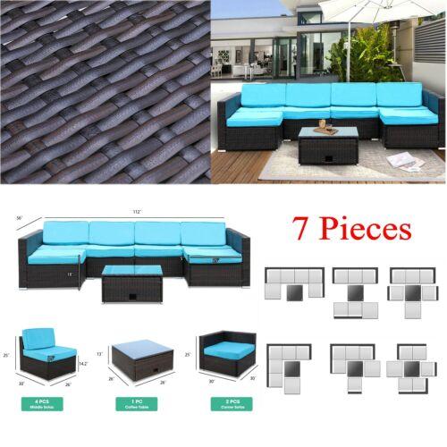 Garden Furniture - 7pcs Patio Garden Furniture Set Rattan Wicker Sectional Outdoor Sofa Couch Set