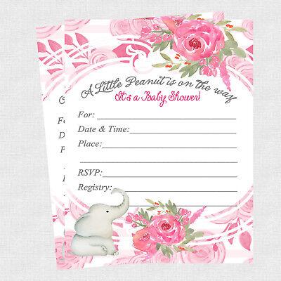 20 Elephant Baby Shower Invitations Cards Decorations Girl Baby Shower Invites