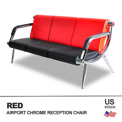 Leather Office Guest Chair - Office Waiting Chair Airport Bench 3-Seat Reception PU Leather Guest Sofa Seat
