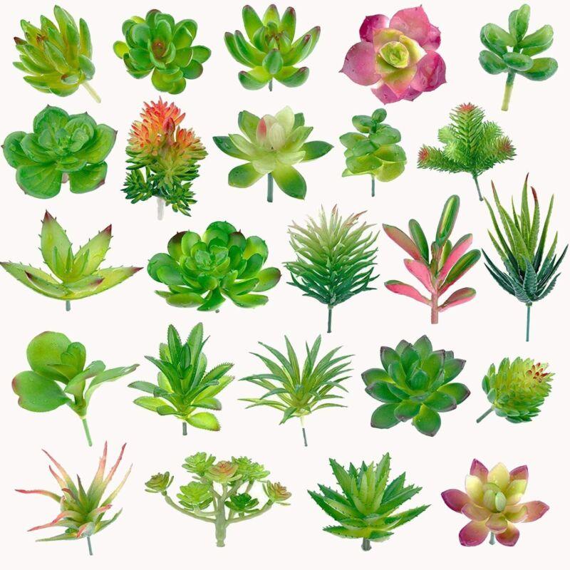 24 Pack Artificial Succulent Plants Unpotted Fake Succulents Plant Home Decor