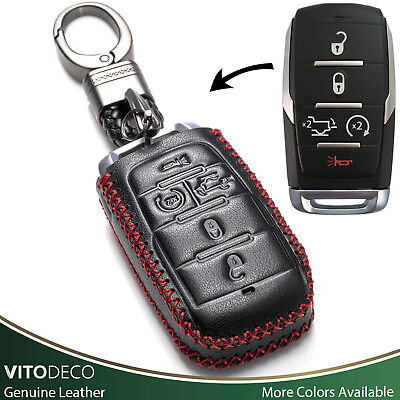 Vitodeco 5-Button Leather Smart Key Fob Case for 2019 RAM 1500 (Tailgate Button)