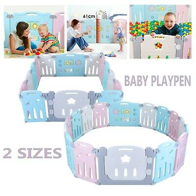 Baby Playpen 14/16 Panel with Safety Gate Child Activity Play Center Yard Fence