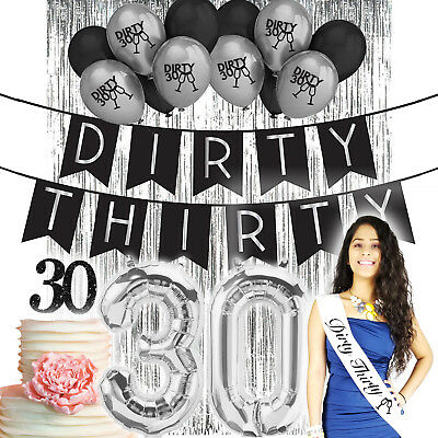 30th Birthday Decorations 30 Birthday Party Supplies Dirty 30 Thirty Banner Sash](30th Party Balloons)