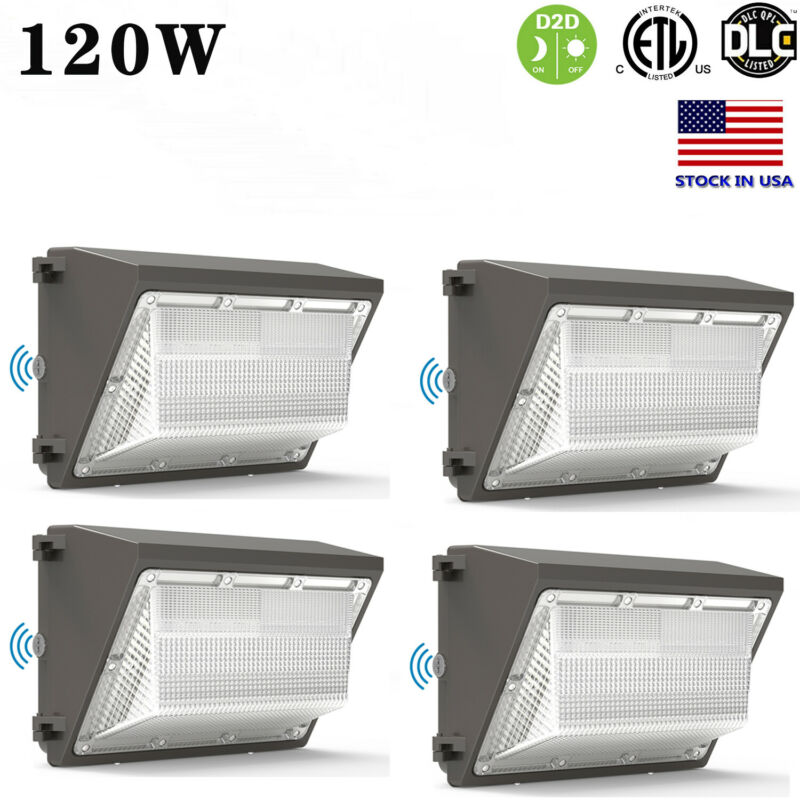 4Pcs LED Wall Pack Light 120W Photocell Dusk to Dawn Commercial Industrial 5000K