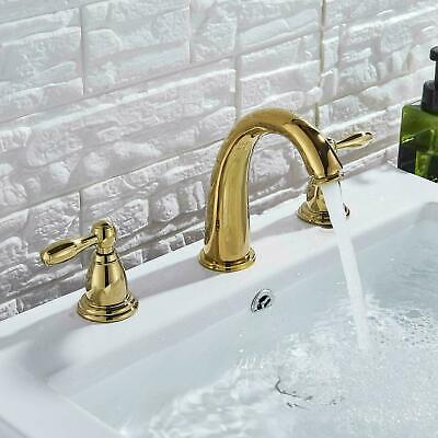 4-8 inch Three Holes Dual Handles Bathroom Faucet Gold Waterfall Sink Mixer Tap