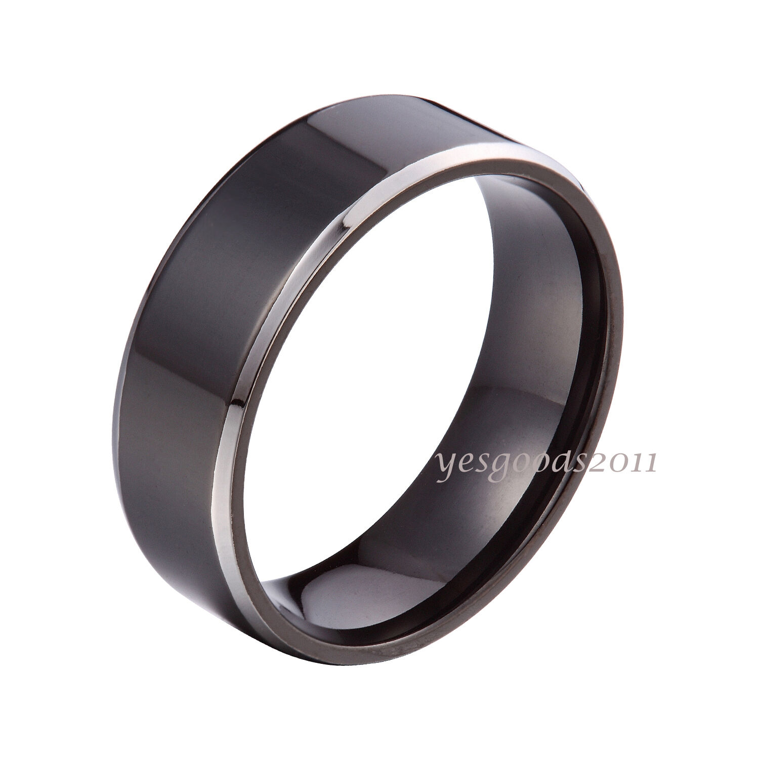 6mm 8mm Black Stainless Steel Plain Comfort Fit Wedding Band Ring Size 5 14 HS13
