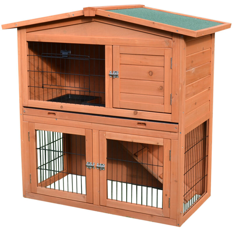 """40""""New A-Frame Wood Wooden Rabbit Hutch Small Animal House Pet Cage Chicken Coop"""