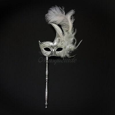 Handheld Stick Venetian Masquerade Mask for Women Silver White M6131 - White Mask Masquerade