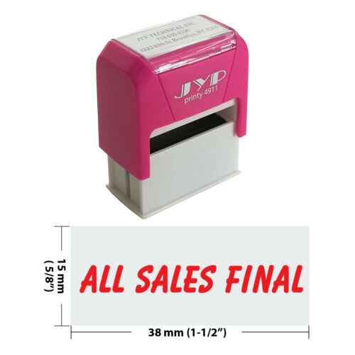 """ All Sales Final "" Self Inking Rubber Stamp - JYP 4911R-20  RED INK"