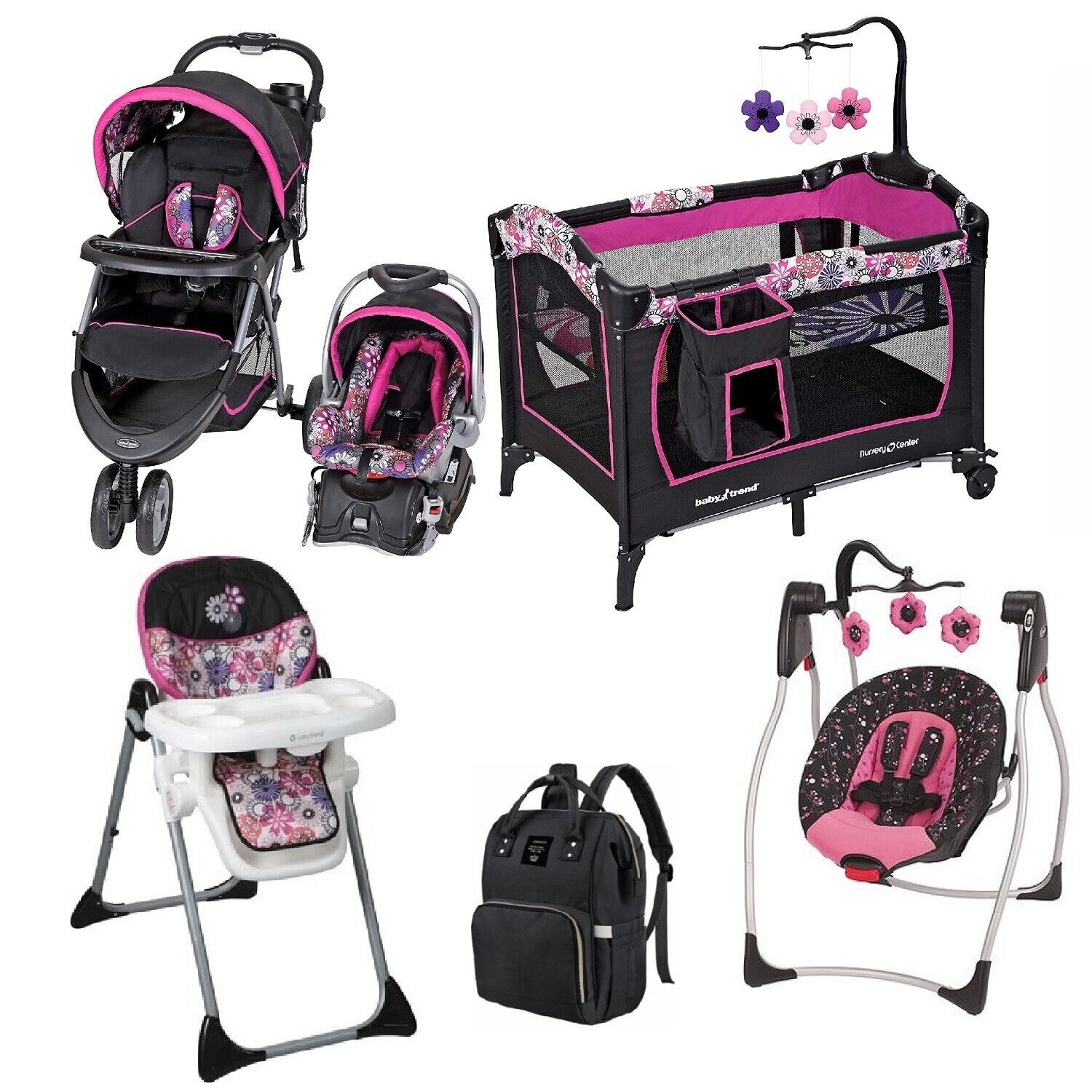 Girl Combo Stroller with Car Seat Baby Comfy Swing Chair Pla