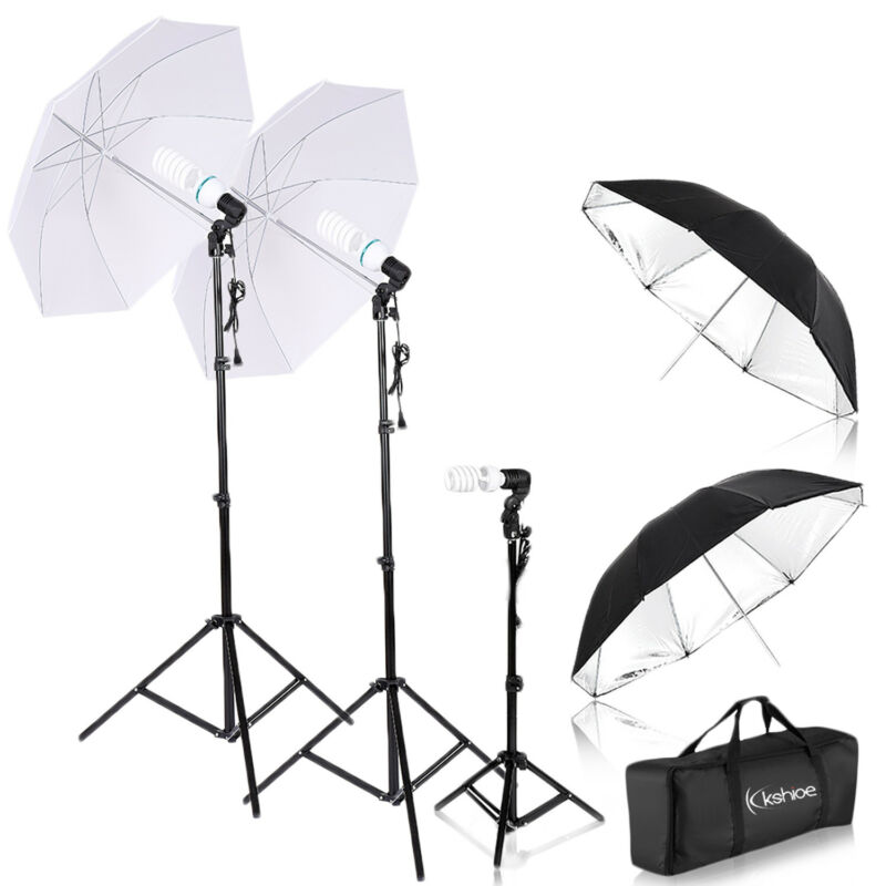 3 Lighting Stand Photography Photo Studio 4 Umbrella Lighting Accessories Kit