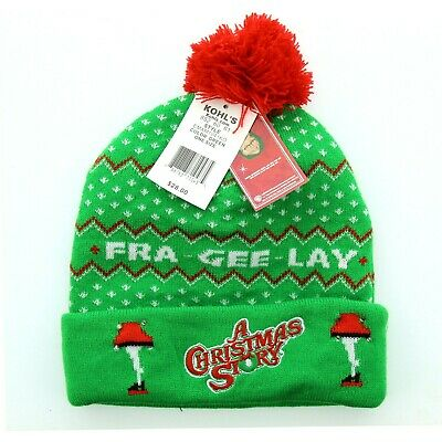 A Christmas Story Hat (A Christmas Story Adults Fra Gee Lay Winter Pom Pom Cap Hat Toboggan)