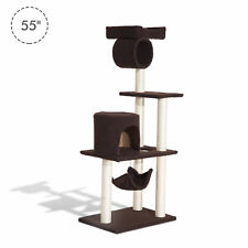 """55"""" Scratching Cat Tree Pet Kitty House Furniture Condo Post Bed New"""