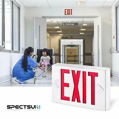 1pc Led Red Exit Sign Emergency Light Exit Sign Battery Combo For Home Ul924