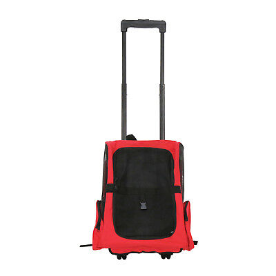 Pet Carrier Dog Travel Tote Rolling Backpack Cat Airline Crate Luggage Bag Red