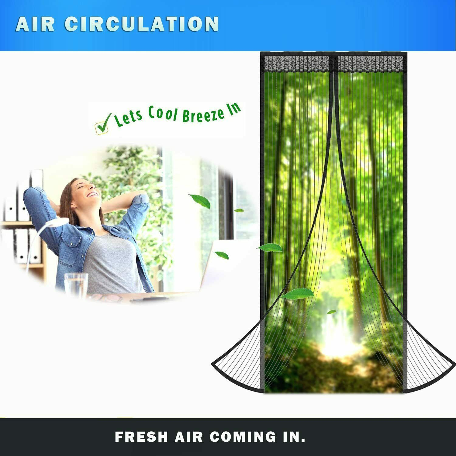 Magnetic Screen Door Mesh Hands-Free Net Mosquito Fly Insect Bug Curtain Closer 1