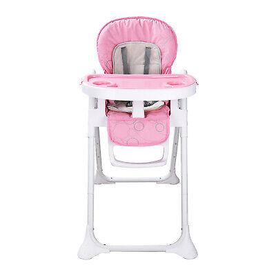 Babystuhl Plegable Silla para Niños Bebé Trona con Función Tumbona Rosa