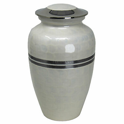 Classic White Silver Banded Adult Cremation Urn for Human Ashes - Best Pet