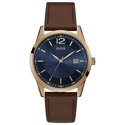 Guess Men's Rose Gold Tone Stainless Steel & Brown Leather Quartz Watch W1186G3 (Guess Rose Gold Watch)