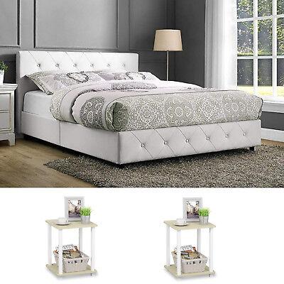 3 Piece Queen Size Bedroom Set Furniture Modern Platform Bed Nightstands White