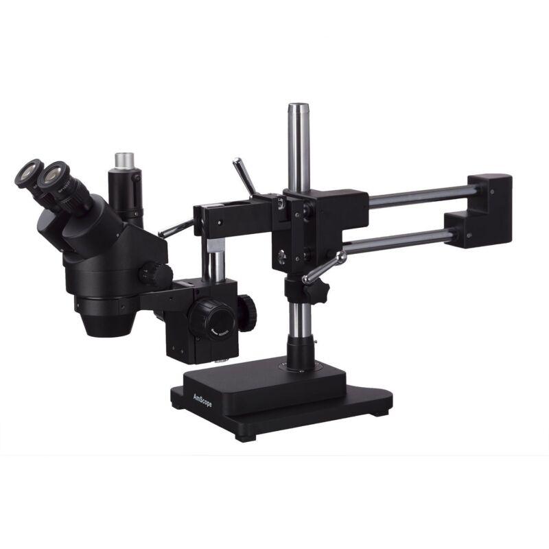 AmScope 3.5X-90X Simul-Focal Trinocular Stereo Zoom Microscope + Double Arm Boom