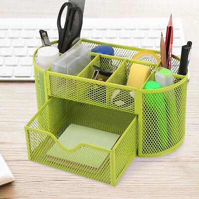 Desk Organizer Mesh Metal Desktop Office Pen Pencil Holder Storage Tray Green Us