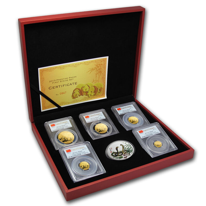 2013 China 5-coin Gold Panda Prestige Set Ms-69 Pcgs (fs) - Sku #85222