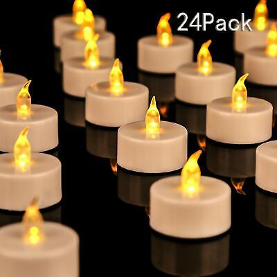 24pcs/Set LED Flickering Flame Battery Tea Lights Flameless Candle with Timer 6h ()