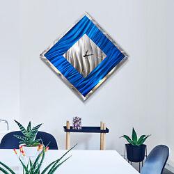 Statements2000 3D Metal Wall Clock Art Modern Silver Blue Decor by Jon Allen
