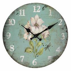 Watch Clayre Eef Wall Clock Decor Nostalgia Shabby Flower MDF Vintage Antique 30