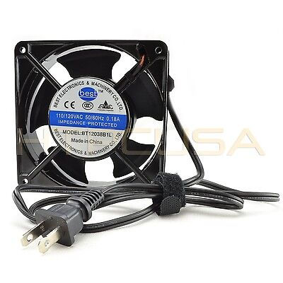 120mm x 38mm 110V 115V 120V Ball Bearing AC Cooling Fan w/ 3FT Power Plug NEW