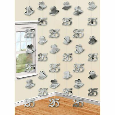 25 Anniversary Decorations (Silver Wedding 25th Anniversary Party Reception Hanging String)