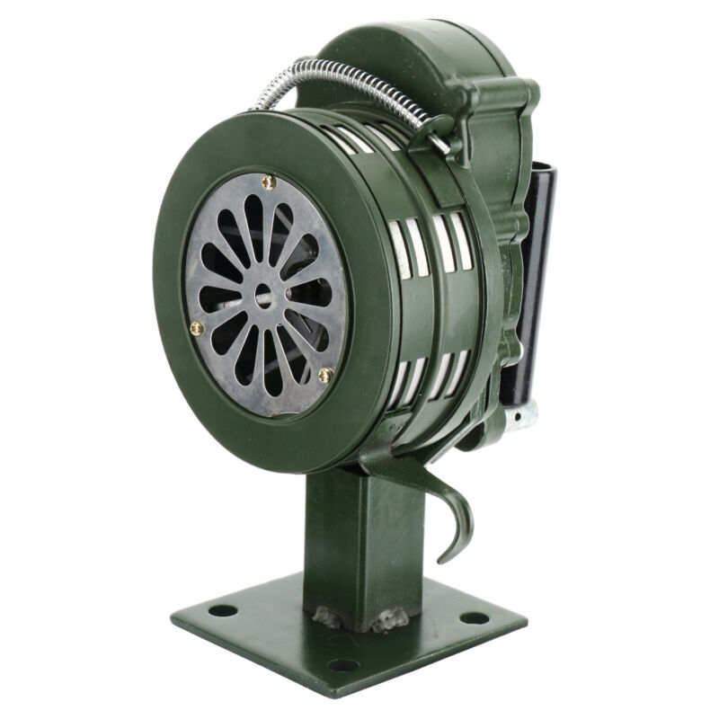 Hand Crank Siren Horn Manual Operated Alarm Air Raid Green Alarm Aluminium Alloy