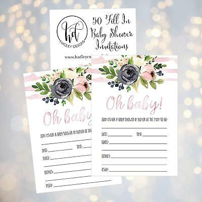 Hadley Designs 50 Fill In Floral Baby Shower Invites Invitations Flowers Girls