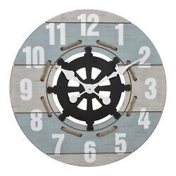 BBB85463 La Crosse Clock Co. 24 Coastal Open Face MDF Analog Quartz Wall Clock