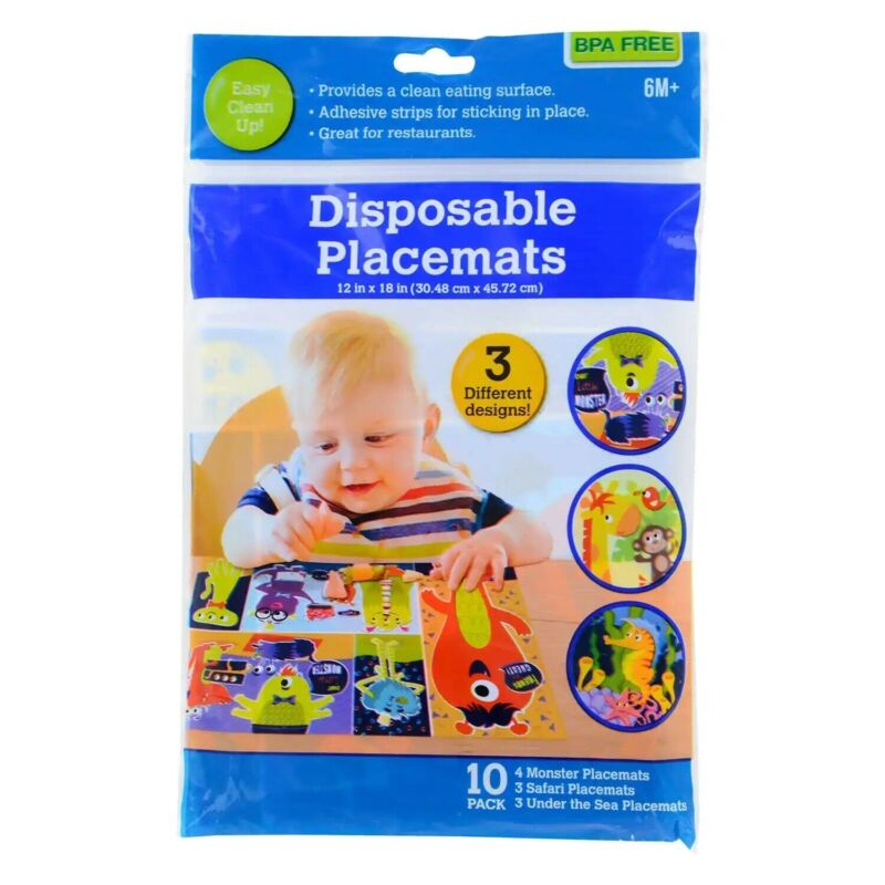 Disposable Adhesive Placemats BPA Free For Baby Toddler Children, 10-ct. Pack